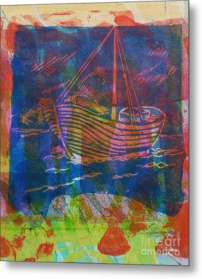Boat In Blue Metal Print