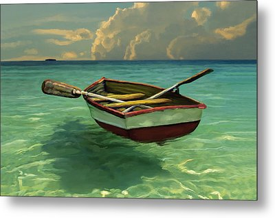 Metal Print featuring the painting Boat In Clear Water by David  Van Hulst