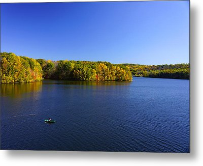 Metal Print featuring the photograph Boat In Croton Reservoir - Ny by Rafael Quirindongo