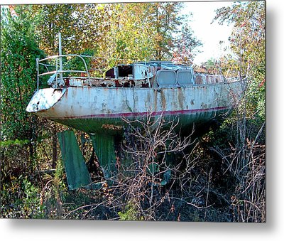 Metal Print featuring the photograph Boat In Dry Dock Forest by Larry Bishop