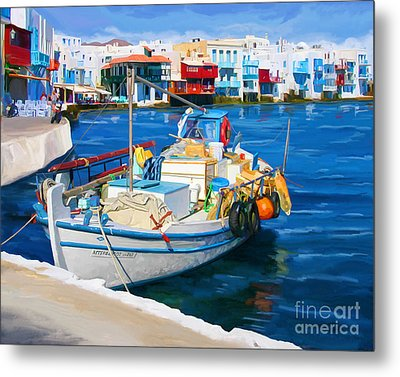 Boat In Greece Metal Print by Tim Gilliland