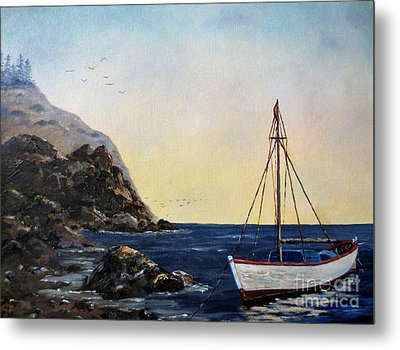 Boat In Maine Metal Print by Lee Piper