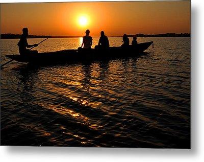 Boat In Sunset On Chilika Lake India Metal Print