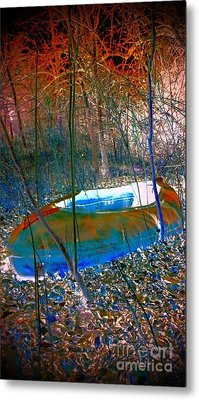 Metal Print featuring the photograph Boat In The Woods by Karen Newell
