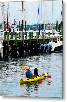 Boat - Kayaking In Newport Ri Metal Print