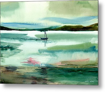 Boat N Creek Metal Print by Anil Nene