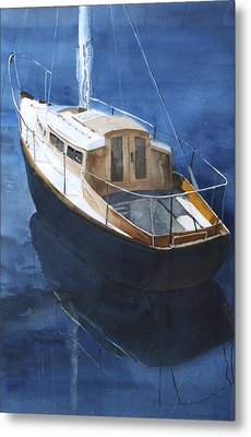 Metal Print featuring the painting Boat On Blue by Susan Crossman Buscho
