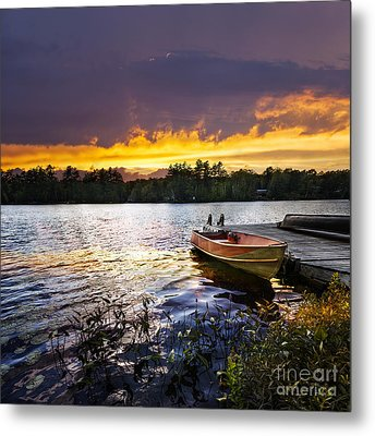 Boat On Lake At Sunset Metal Print by Elena Elisseeva