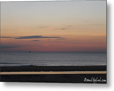 Metal Print featuring the photograph Boat On The Horizon At Sunrise by Robert Banach