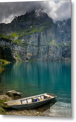Boat On The Oeschinensee - Swiss Alps  Metal Print by Gary Whitton