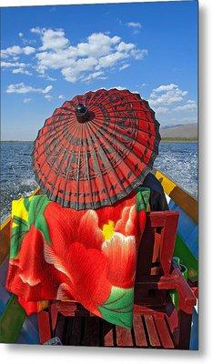 Boat Passanger With Pathein Umbrella Metal Print by Judith Barath