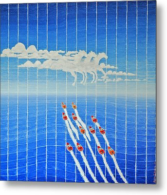 Boat Race Horse Clouds Metal Print