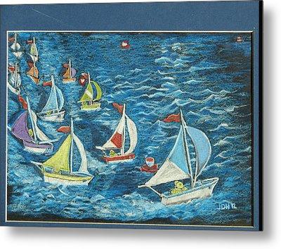 Metal Print featuring the drawing Boat Race/bernie And Joe by Joseph Hawkins