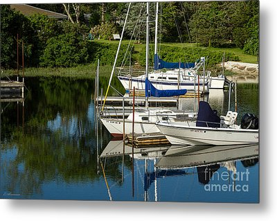 Boat Reflections In Cape Cod Hen Cove Metal Print by Eleanor Abramson