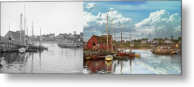 Boat - Rockport Mass - Motif Number One - 1906 - Side By Side Metal Print by Mike Savad
