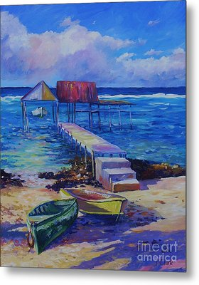 Boat Shed And Boats Metal Print by John Clark