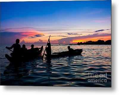 Boat Silhouettes Angkor Cambodia Metal Print by Fototrav Print