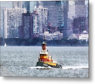 Boat - Tugboat By Manhattan Skyline Metal Print by Susan Savad