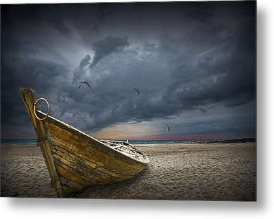 Boat With Gulls On The Beach With Oncoming Storm Metal Print by Randall Nyhof