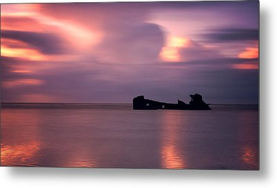 Boat Wreck Metal Print by Mark Leader
