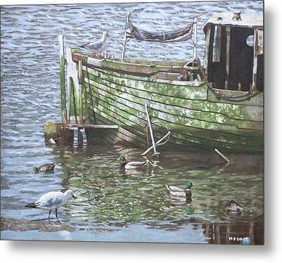 Boat Wreck With Sea Birds Metal Print by Martin Davey