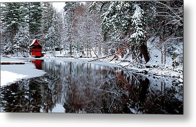 Boathouse In Winter On Beaver Brook Metal Print by David Patterson