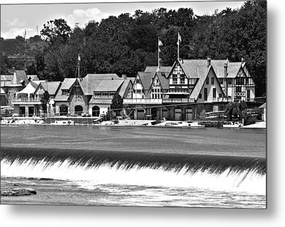 Boathouse Row - Bw Metal Print by Lou Ford