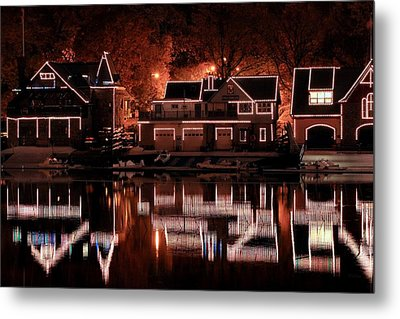 Boathouse Row Reflection Metal Print