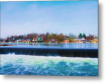 Boathouse Row With The Fairmount Dam Metal Print by Bill Cannon