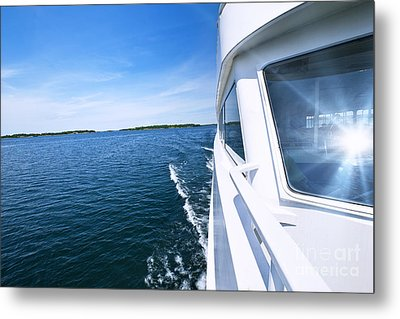 Boating On Lake Metal Print by Elena Elisseeva