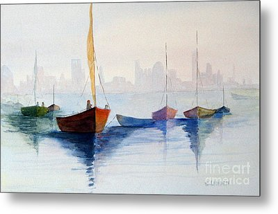 Boats Against The Skyline Metal Print by Sandy Linden