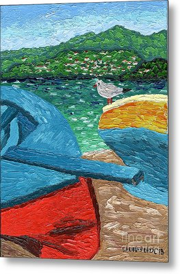 Boats And Bird At Rest Metal Print by Laura Forde