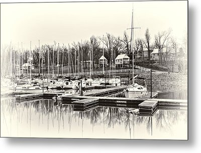 Boats And Cottages In B/w Metal Print by Greg Jackson