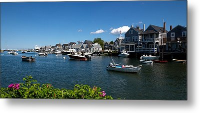 Boats At A Harbor, Nantucket Metal Print by Panoramic Images