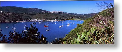 Boats At A Harbor, Porto Azzurro Metal Print by Panoramic Images