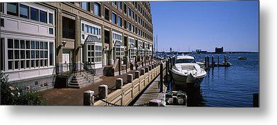 Boats At A Harbor, Rowes Wharf, Boston Metal Print by Panoramic Images