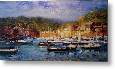 Boats At Portofino Italy  Metal Print by R W Goetting
