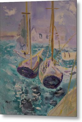 Boats At Sea Metal Print