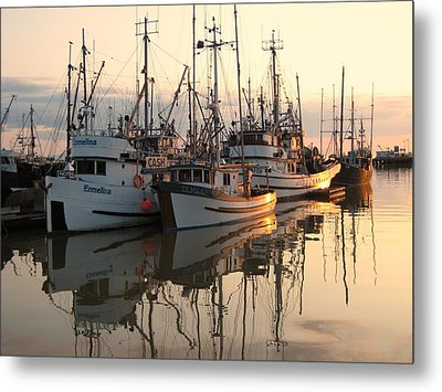 Boats At Steveston Harbour  Metal Print by Shirley Sirois