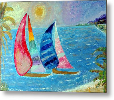 Metal Print featuring the painting Boats At Sunset 2 by Vicky Tarcau