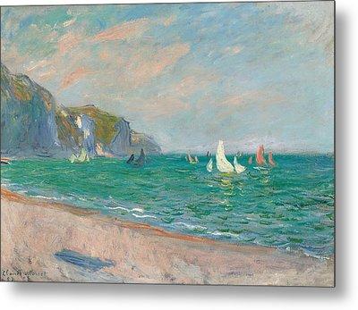 Boats Below The Pourville Cliffs Metal Print by Claude Monet