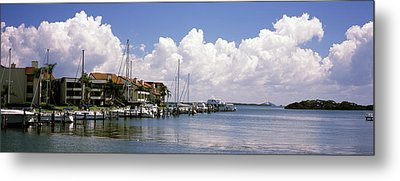 Boats Docked In A Bay, Cabbage Key Metal Print by Panoramic Images