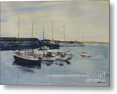 Boats In A Harbour Metal Print by Martin Howard