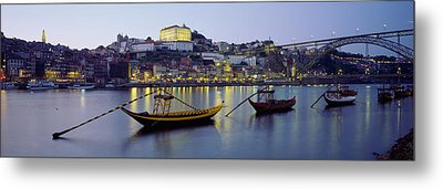 Boats In A River, Douro River, Porto Metal Print by Panoramic Images