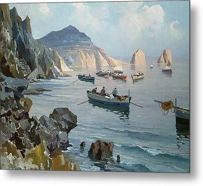 Boats In A Rocky Cove  Metal Print