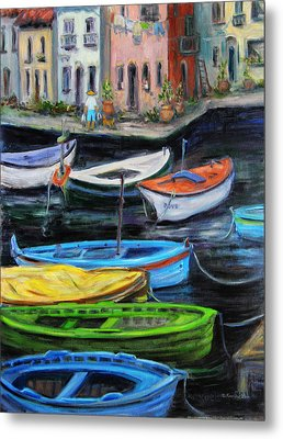Boats In Front Of The Buildings II Metal Print by Xueling Zou