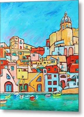 Boats In Front Of The Buildings Vii Metal Print by Xueling Zou