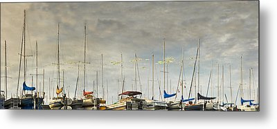 Metal Print featuring the photograph Boats In Harbor Reflection by Peter v Quenter