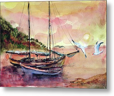 Boats In Sunset  Metal Print by Faruk Koksal