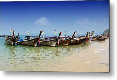 Boats In Thailand Metal Print by Zoe Ferrie